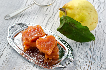 Cut pieces of chewy marmalade sweet quince jelly