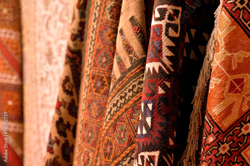 canvas print picture Turkish carpet at Grand Bazaar in Istanbul, Turkey.
