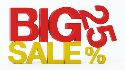 3D rendering of a 25 Percent and Big Sale Text