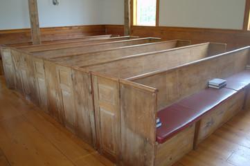 Old Pews, First Indian Church at Mashpee, Mashpee MA USA