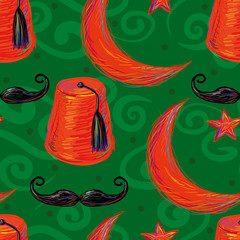 Turkish seamless pattern with fez and Crescent and Star
