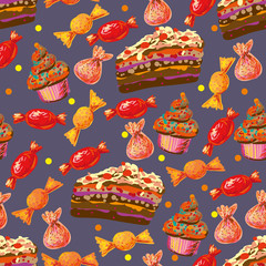 Seamless food pattern dessert