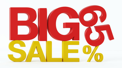 3D rendering of a 65 Percent and Big Sale Text