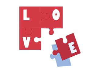 3d image Love jigsaw.on top view.