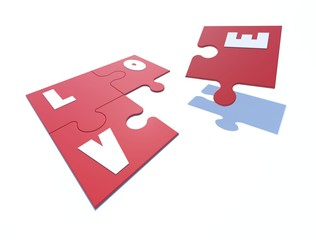 3d image Love jigsaw.on perspective view.