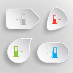 Fueling station. White flat vector buttons on gray background.