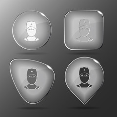 Doctor. Glass buttons. Vector illustration.