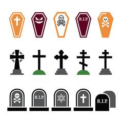 Halloween, graveyard colorful icons set - coffin, cros
