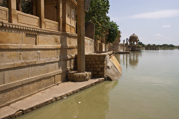 Sacred Gadi Sagar lake in Jaisalmer, India
