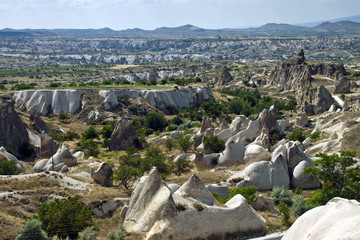 Unusual volcanic landscape in Cappadocia, Turkey