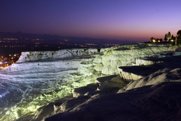 Travertine terraces in Pamukkale at night, Turkey