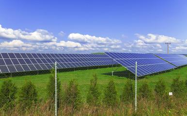 Solar energy panels with blue sky