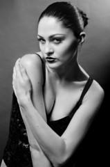 Black and white studio portrait of sexy women