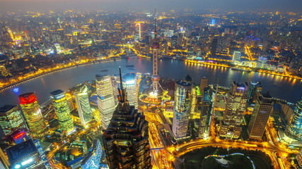 China Shanghai, day to night ( Zoom in time-lapse )
