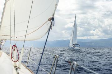 Sailing regatta. Luxury yacht at ocean race.