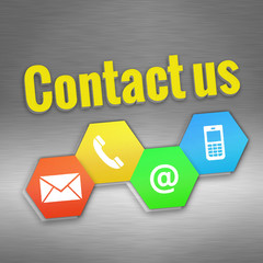 colored contact us sign