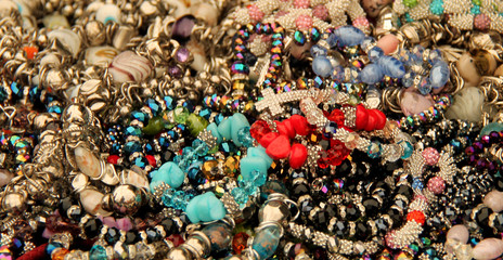 A Display of Brightly Coloured Costume Jewellery.