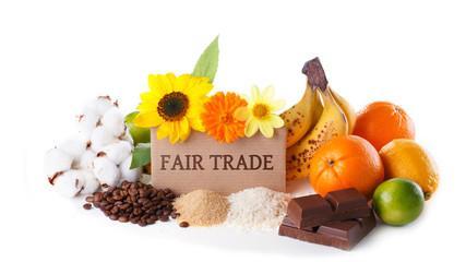 Fair Trade Produkte  -  Handel - Schild
