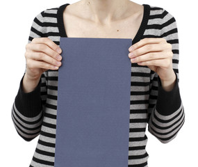 Woman holding a paper