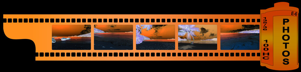 pellicule de film photos Seychelles en négatif