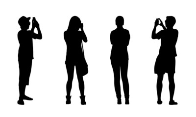 people standing outdoor silhouettes set 18