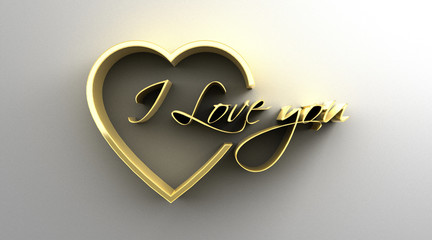 I Love You in heart - gold 3D quality render on the wall backgro