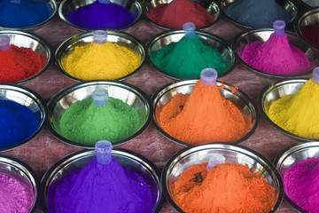 Colours for make up, Orchha, India