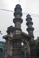 Sillhouettes of Sidi Bashir mosque minarets, Ahmendabad, India