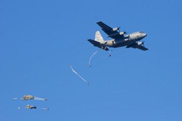 Military airplane paradrop