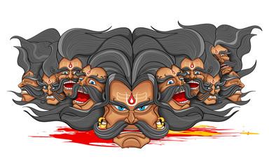 Ravana with ten heads for Dussehra