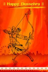 Lord Rama with bow arrow killimg Ravana