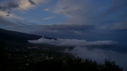 storm clouds and sunset in la palma islands