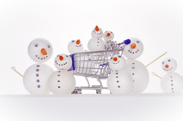 snowman shopping cart