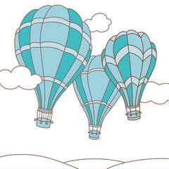 Vector illustration of three hot air balloons