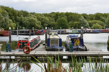 narrow boats at quay in Thames and Kennet Marina, Reading