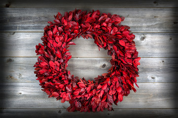 Natural leaf wreath, with vignette, for the seasonal holidays on
