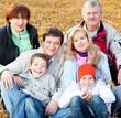 Big family in autumn park