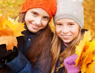 Girls at autumn