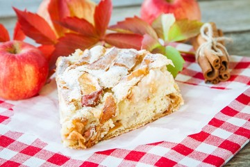 piece of apple pie on a wooden background