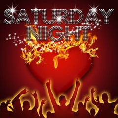 Saturday Night poster heart on fire