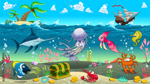 Funny scene under the sea. - 70399116