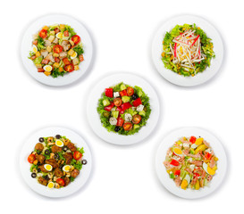 Set of fresh and salads isolated on white