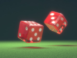 Red Dice In Motion