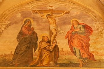 Padua - Fresco of crucifixion in church San Benedetto vecchio