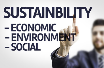 Business man pointing the text: Sustainability Descriptions