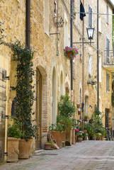 Street in the Italian town of Pienza.