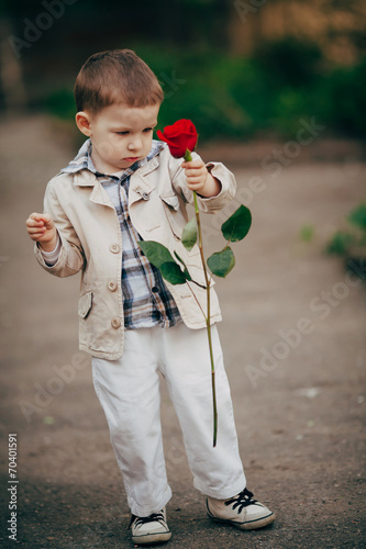 canvas print picture small boy with red rose
