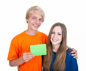 Teenager mit Blankoschild