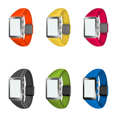 set of smart watches on a white background