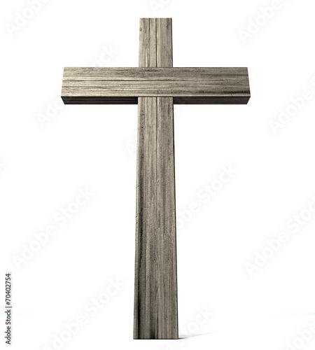 Leinwanddruck Bild Wooden Crucifix
